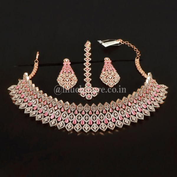 Rose Gold Polish Pink AD Choker With Tikka Earring