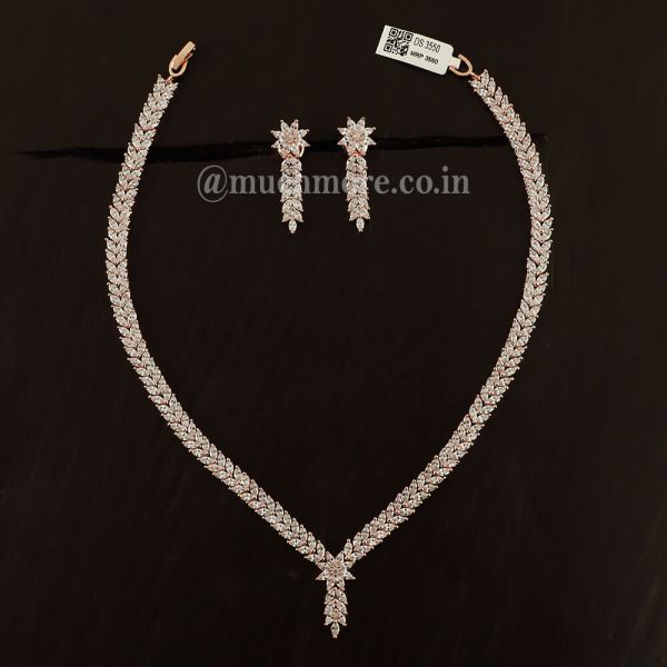 Victorian Style Rose Gold Diamond Necklace For Girls
