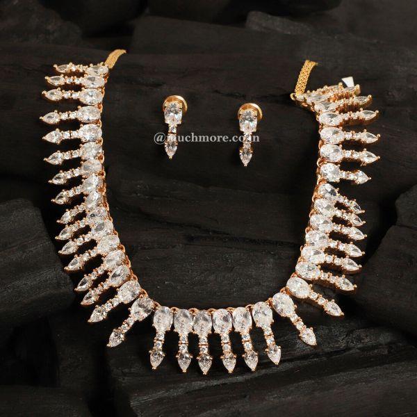 Gold Polish Diamond Necklace & Earrings Set