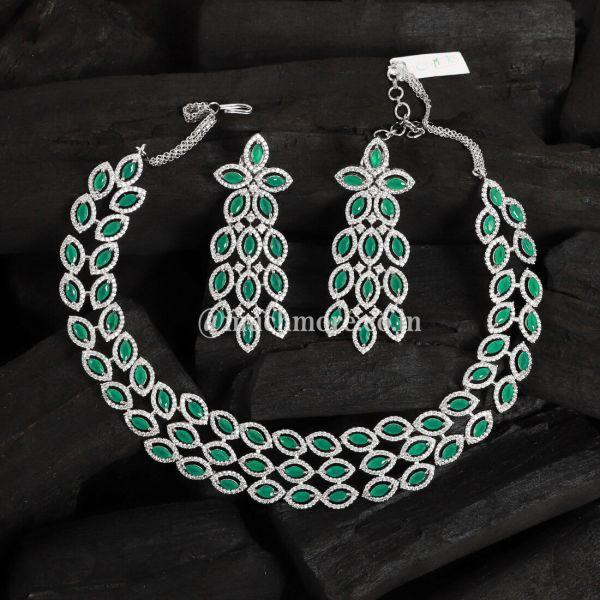 Indowestern Semiprecious Green Emerald Studded Set