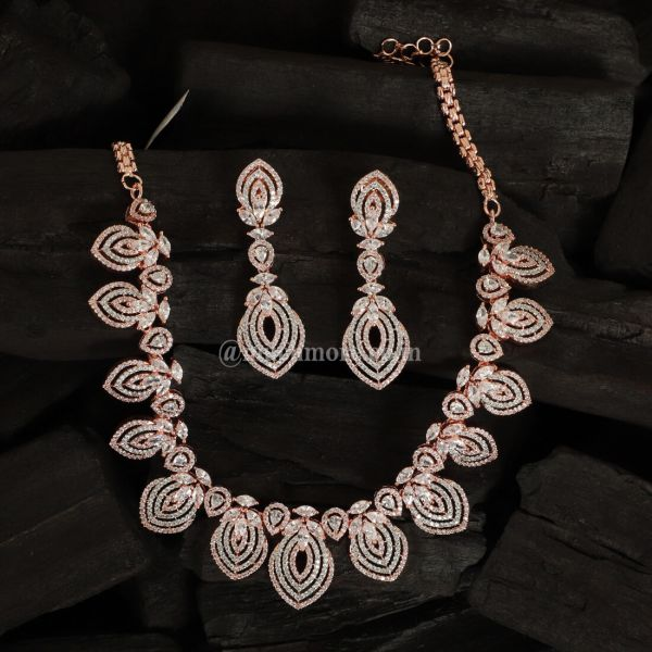 Rose Gold-Plated AZ-Studded Handcrafted Necklace Set
