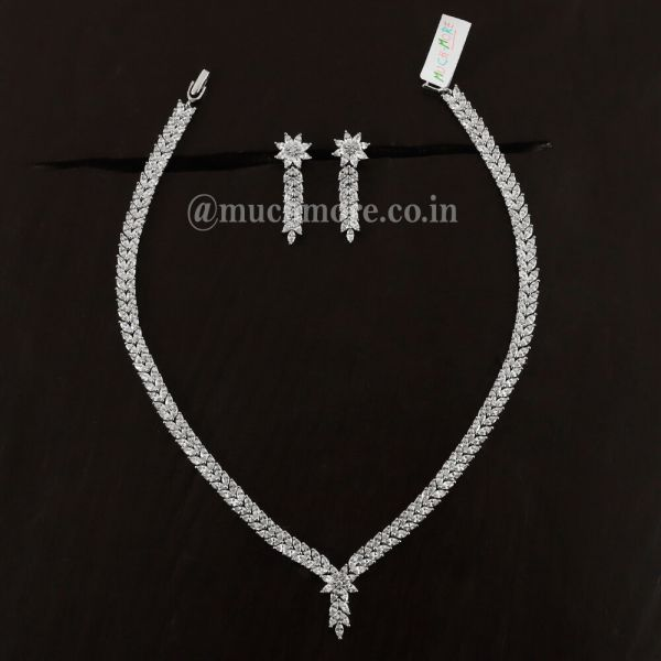 Victorian Style Silver Diamond Necklace For Girls