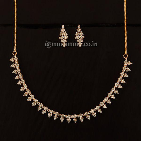 Very Light Gold Polish Diamond Necklace Set