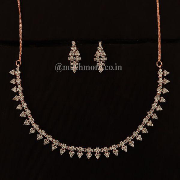 Very Light Rose Gold Polish Diamond Necklace Set