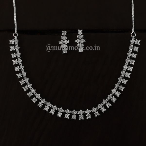 Simple And Unique Silver Polish Diamond Set For Women