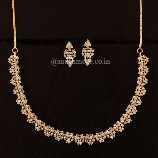 American Diamond Gold Polish Necklace Set For Woman