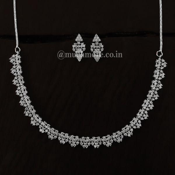 American Diamond Silver Necklace Jewellery Set Online