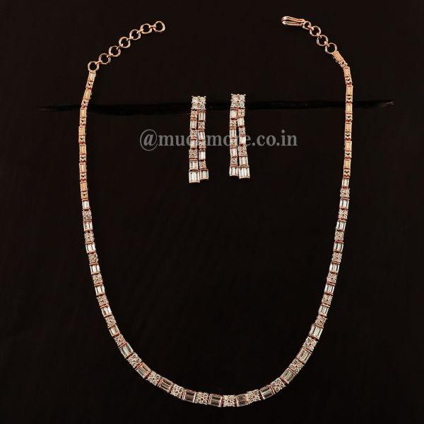 Single Chain Look Rose Gold American Diamond Set