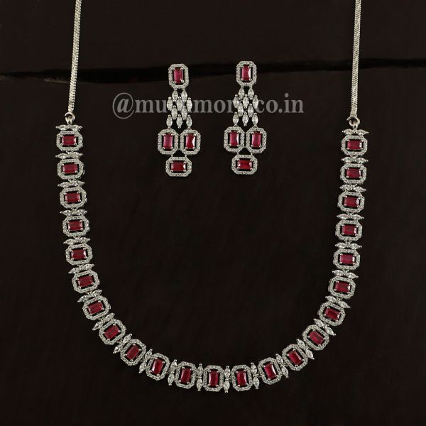 Buy Ruby Necklace & Earrings In Silver Polish