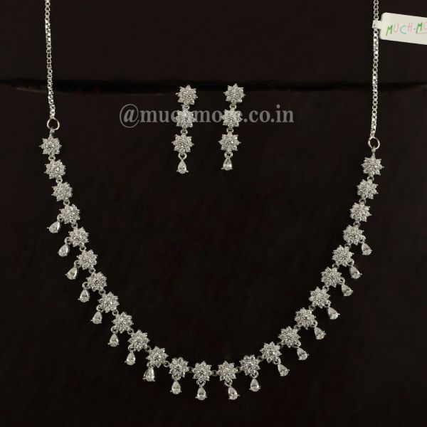 Buy Latest Necklace Sets For Women In Silver Polish