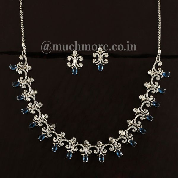 Sapphire AD Necklace Set For Women With Earring