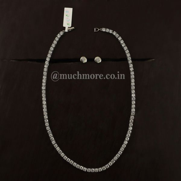 Solitaire American Diamond Necklace Chain For Women