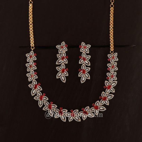Gold Polish Diamond Studded Necklace & Earrings Set