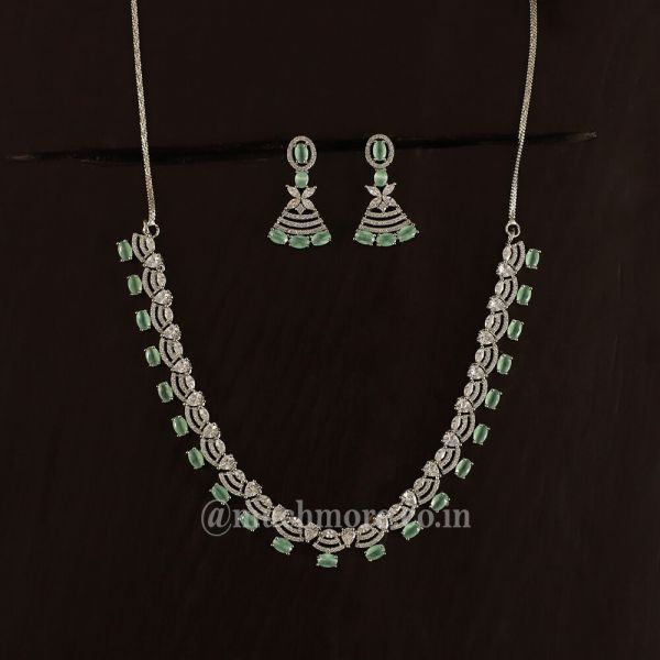 Silver Polish Mint Green Necklace Set For Girls