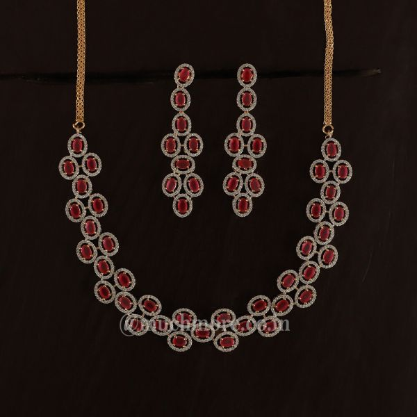 Gold Polish Western Look Diamond Necklace Set