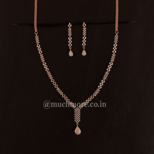 Rose Gold Polish AD Necklace In Victorian Style