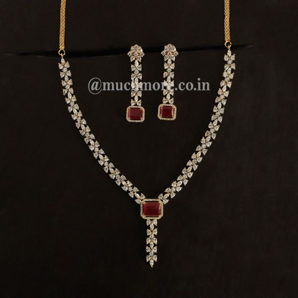 Ruby Pendant Style AD Necklace Earring