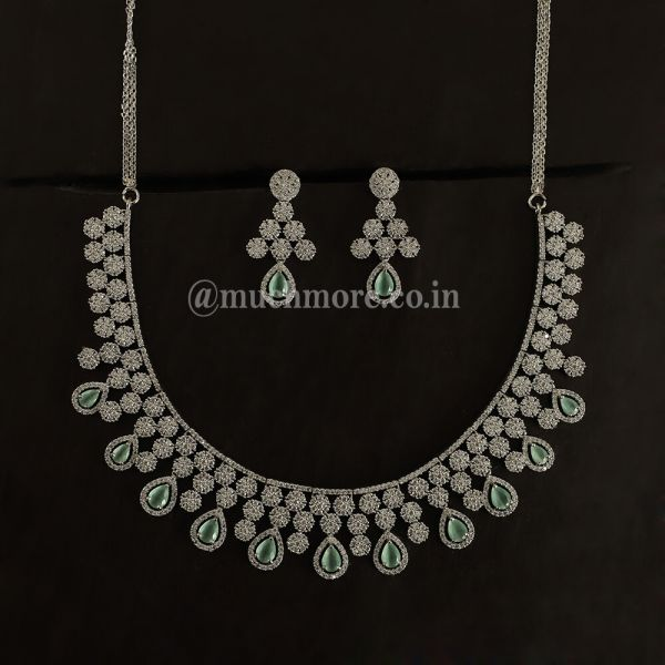 Aquamarine Necklace Set For Women