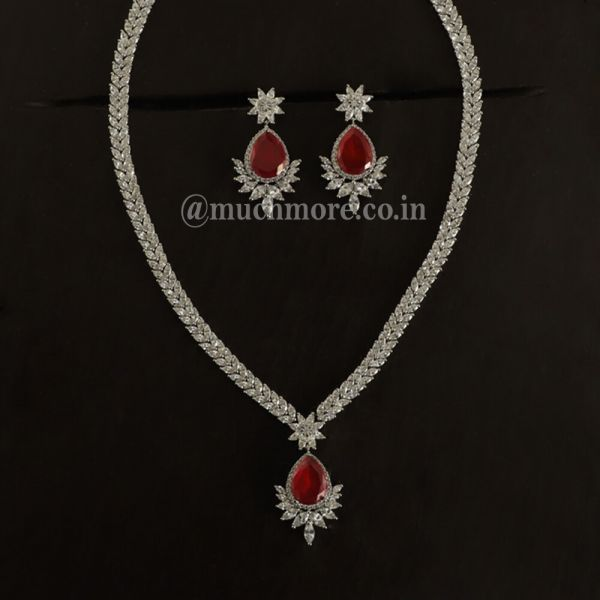 Enchanted Silver With Big Ruby Necklace Set