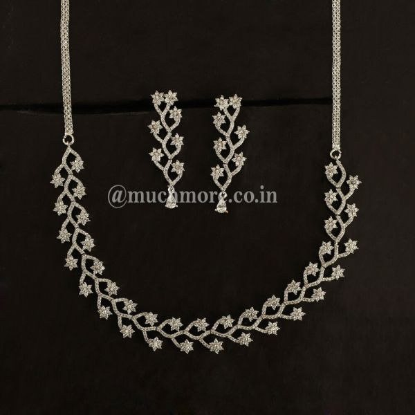 Floral Swirl Diamond Necklace For Women