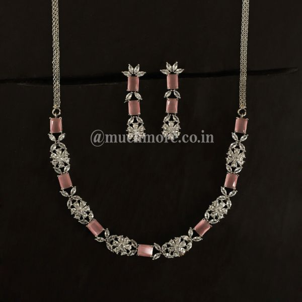 Royal Affair Pink AD Necklace Set