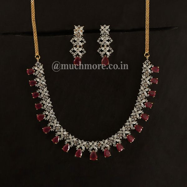 Ruby Stone Floral Necklace For Woman
