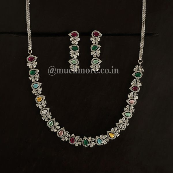 Multi Colored Silver Necklace With Earring