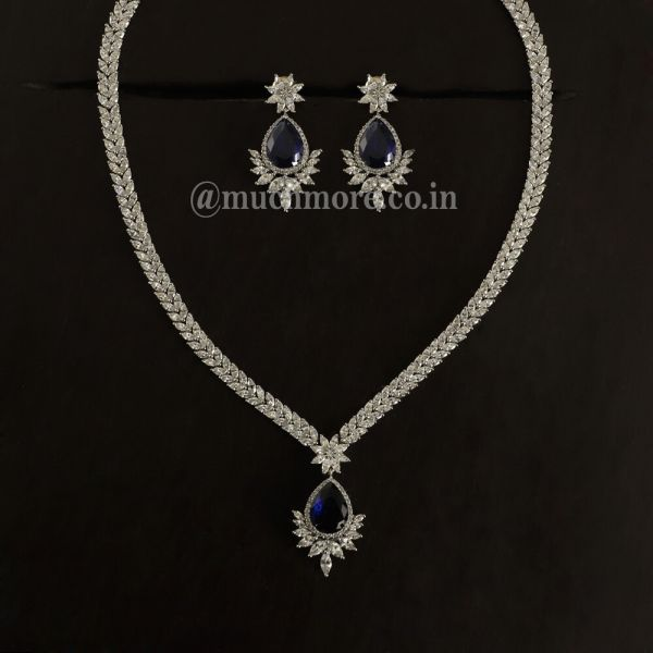 Silver Sapphire Blue Drop Necklace With Earrings