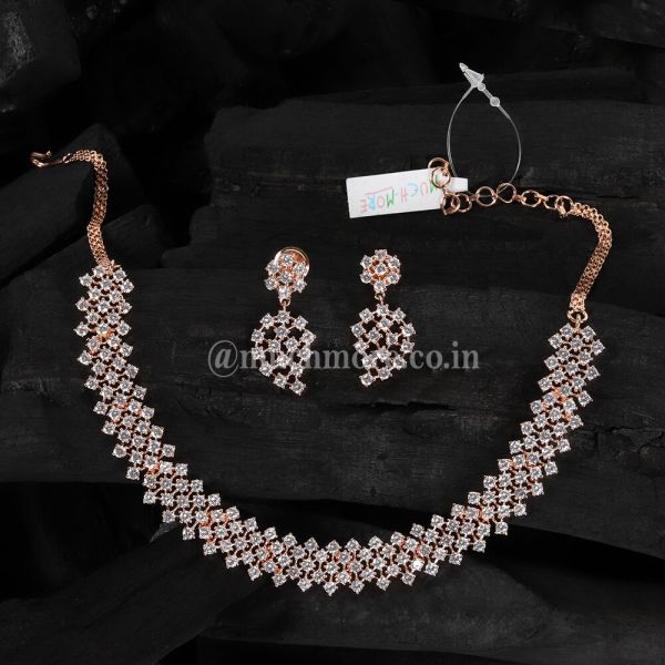Simple Diamond Necklace Set With Earring