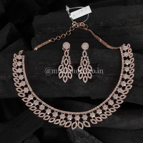 Stunning Rose Gold Polish Diamond Necklace Set