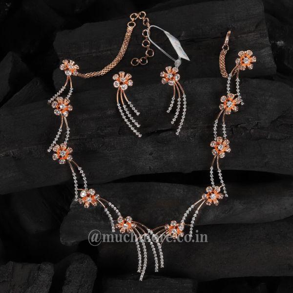 Light Weight Flower Shaped Diamond Necklace Set