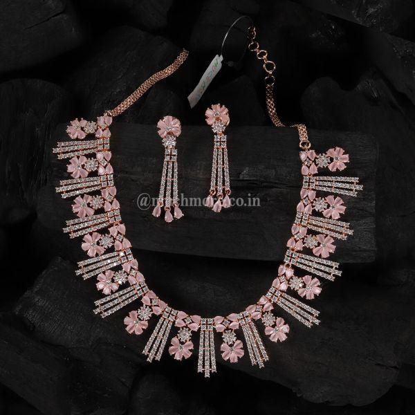 Baby Pink Flower Shaped Diamond Necklace Set