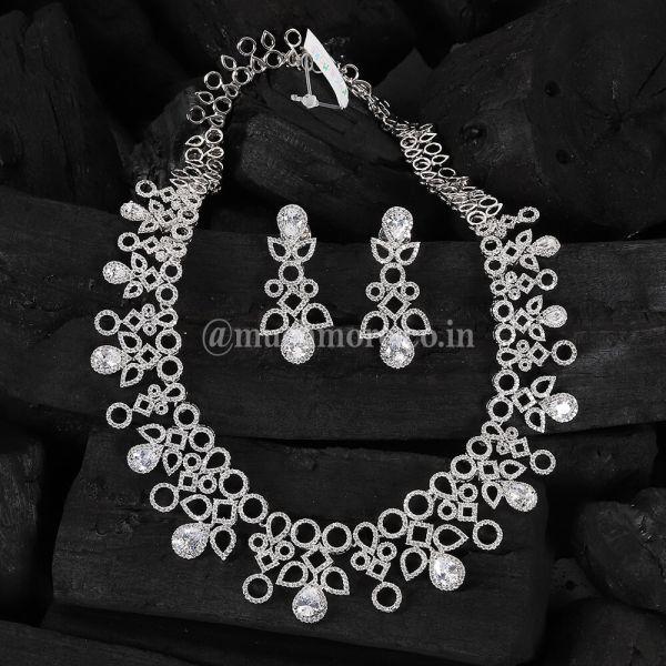 Silver Polish Contemporary Diamond Necklace Set