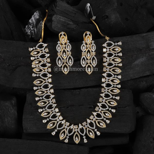 Gold Plated Diamond Necklace With Earrings