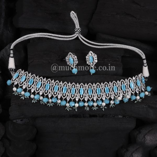 Blue Stylish Choker Necklace With Tops