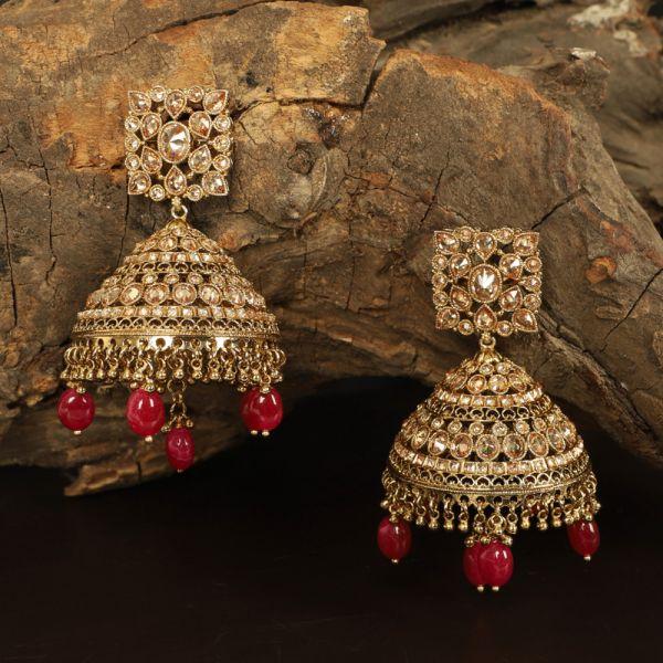 Antique Polki Ruby Earring