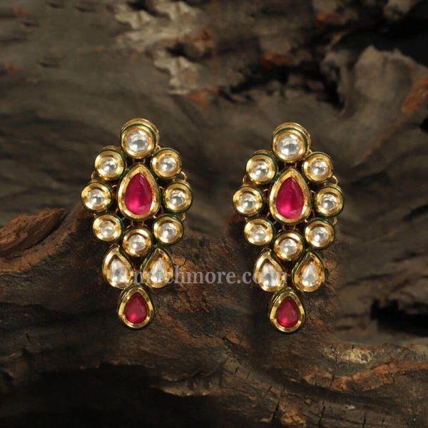 Ruby Color Simple Light Weight Kundan Earrings