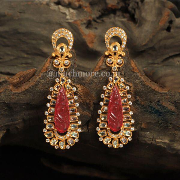 Uncut Kundan Ruby Stylish Dangles