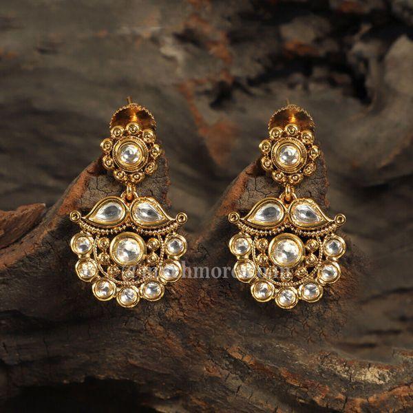 Gold Polish Statement Kundan Earrings