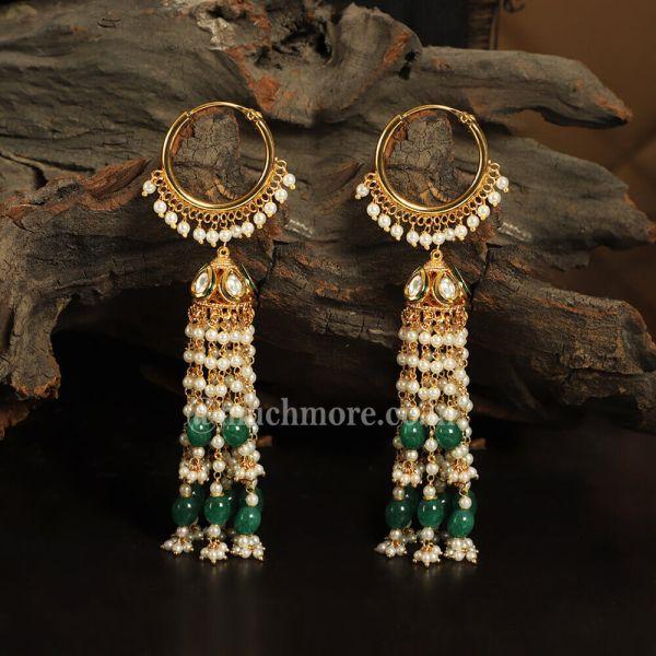Emerald Green Long Jhumka Earrings With Pearl Strings Hanging