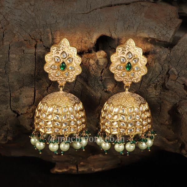 Uncut Kundan Big Jhumka Earrings