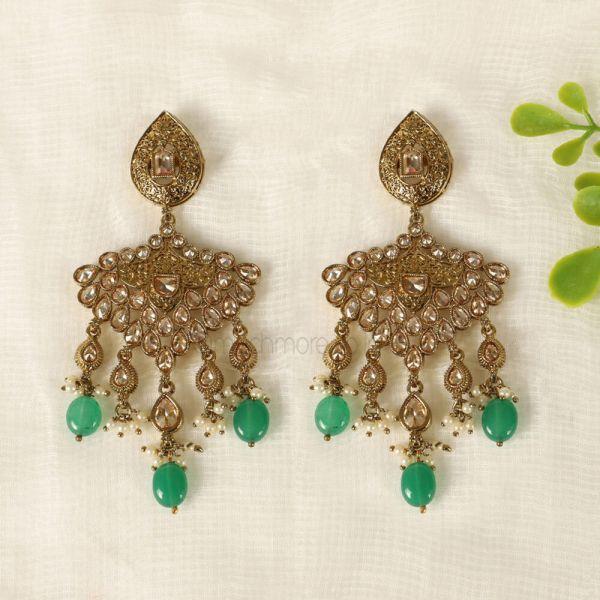 Antique Gold Tone Emerald Drop Earrings