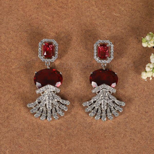 Big Ruby Western Diamond Earrings