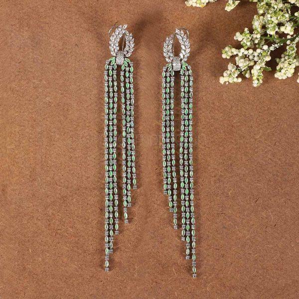 Mint Green Tassel Long Earrings In Diamonds