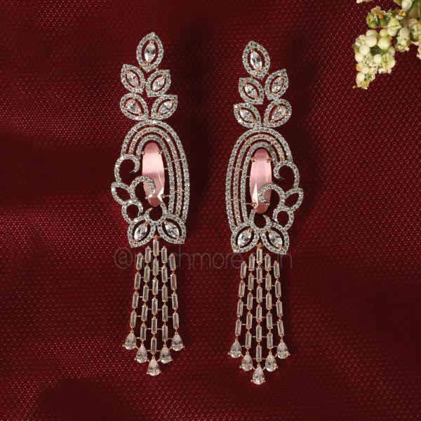 Baby Pink Gold Polish Diamond Earrings Online