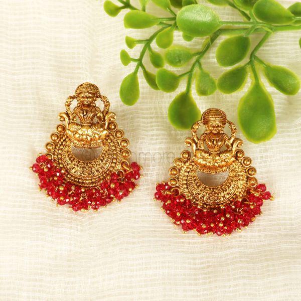 Ruby Beads Stylish Yet Traditional Chandbali Earrings