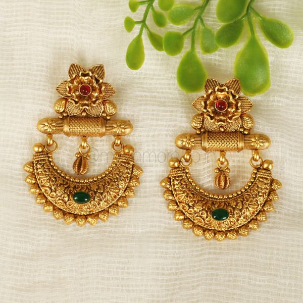 Ruby Green Traditional Earrings In Gold Polish