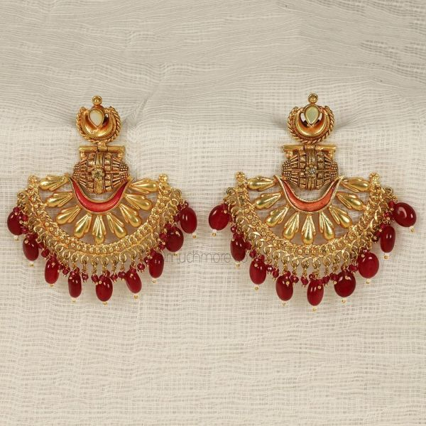 Traditional Ruby Red Gold Polish Earrings