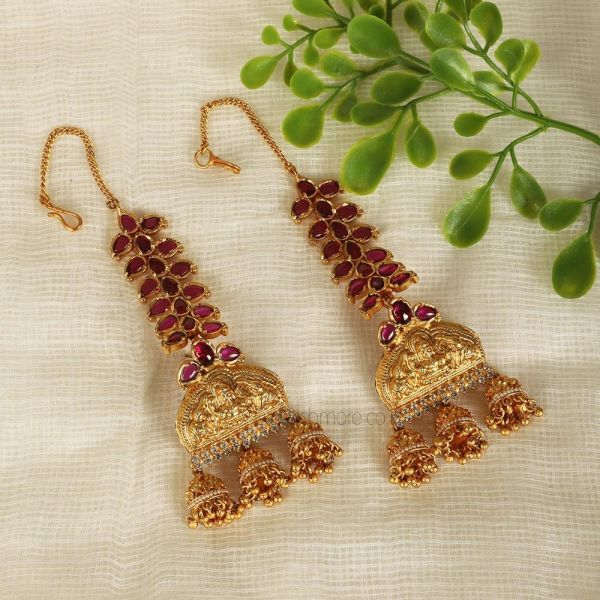 Designer Ruby Temple Work Earrings With Kaan Chain