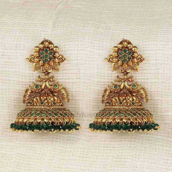 Emerald Green Peacock Jhumka Earrings Online